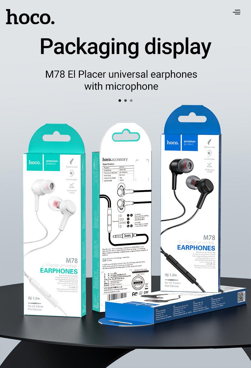 hoco news m78 el placer universal earphones with microphone package en