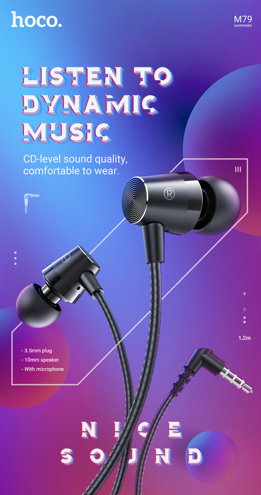 hoco news m79 cresta universal earphones with microphone en