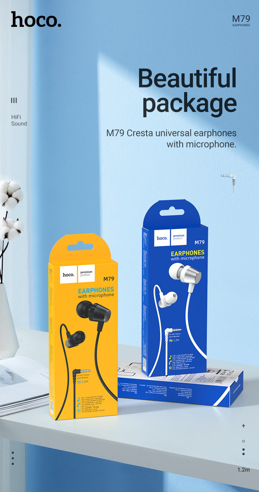 hoco news m79 cresta universal earphones with microphone package en