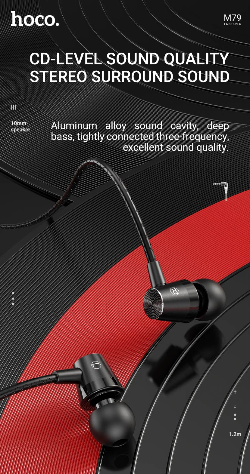 hoco news m79 cresta universal earphones with microphone sound quality en