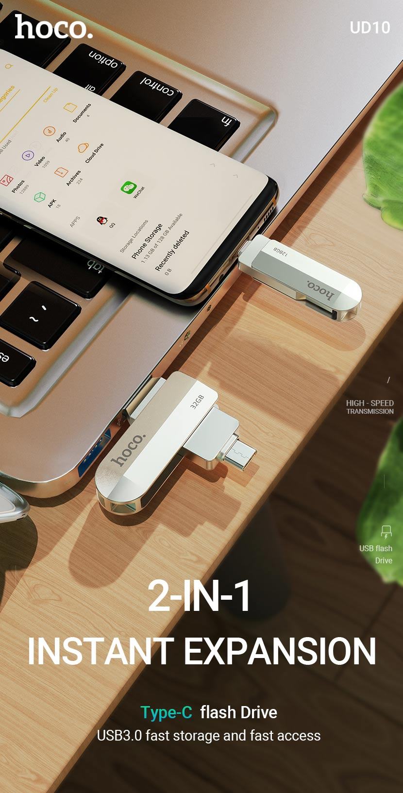 hoco news ud10 wise type c usb flash drive expansion en