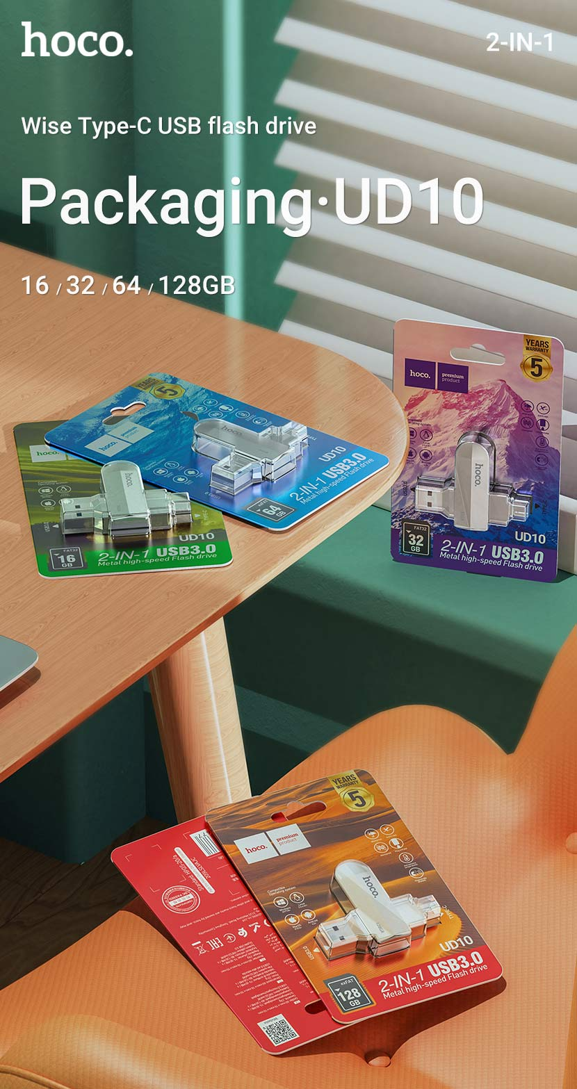 hoco news ud10 wise type c usb flash drive package en