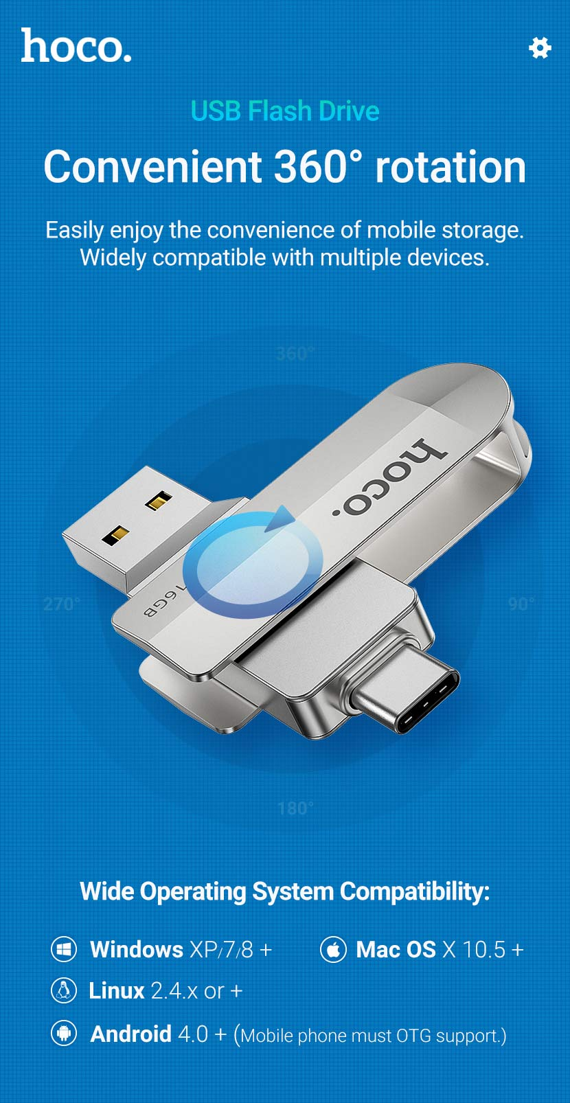 hoco news ud10 wise type c usb flash drive rotation en