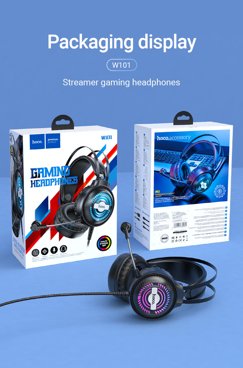 hoco news w101 streamer gaming headphones package en