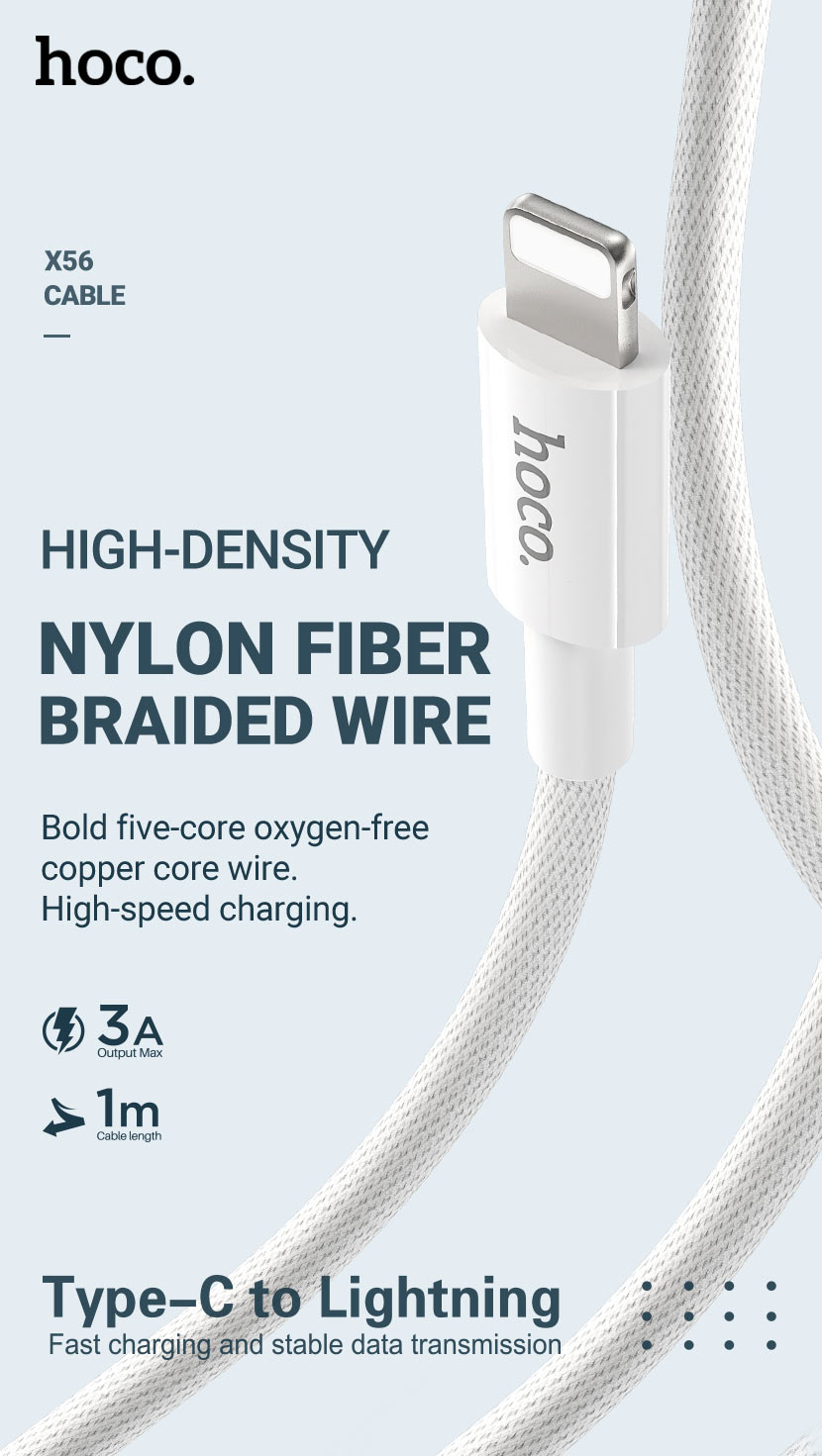 hoco news x56 new original pd charging data cable lightning braid en