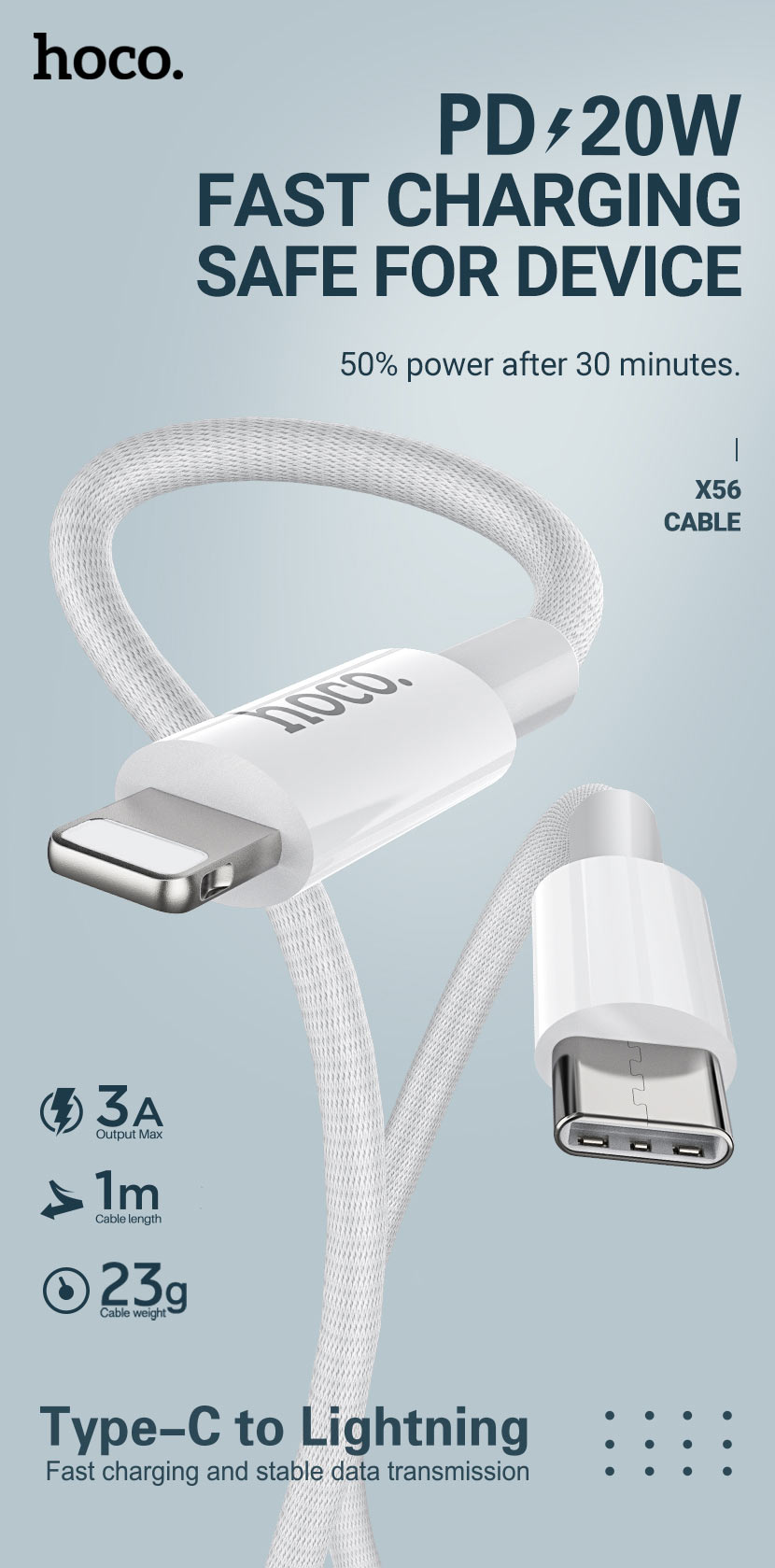 hoco news x56 new original pd charging data cable lightning en