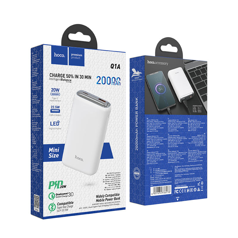 hoco q1a kraft fully compatible power bank 20000mah package white