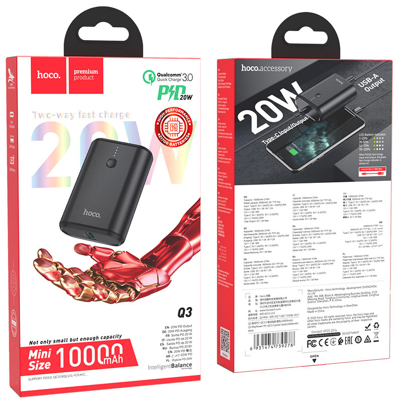 hoco q3 mayflower pd qc3 power bank 10000mah package black