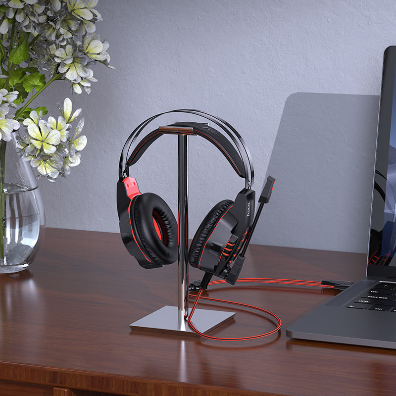 hoco w102 cool tour gaming headphones on stand