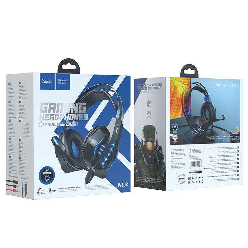 hoco w102 cool tour gaming headphones package blue