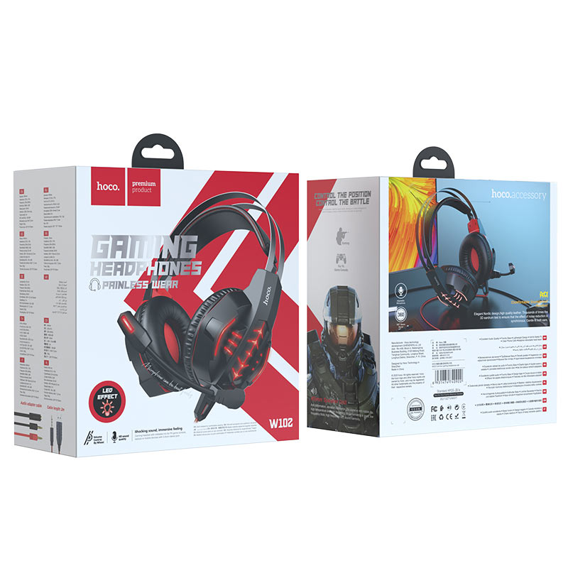 hoco w102 cool tour gaming headphones package red