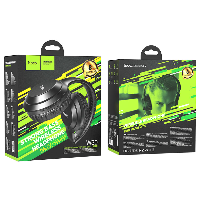 hoco w30 fun move bt wireless headphones package black