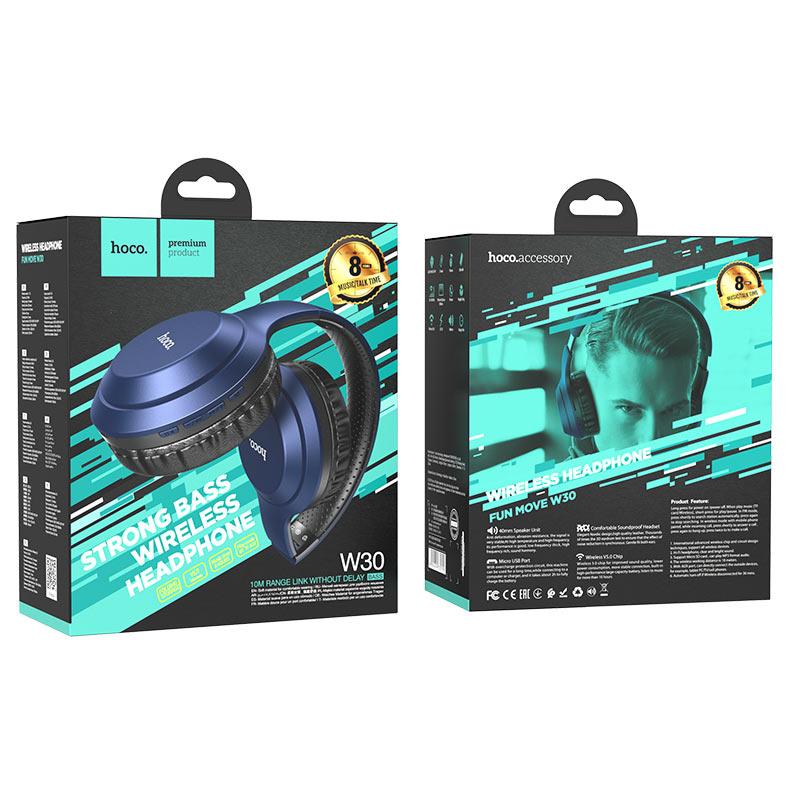 hoco w30 fun move bt wireless headphones package blue