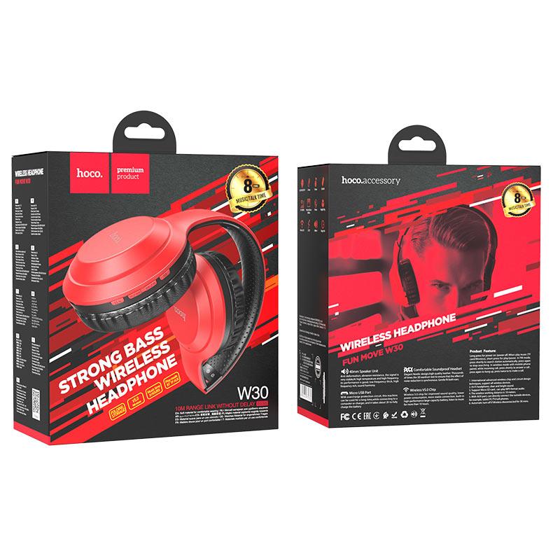 hoco w30 fun move bt wireless headphones package red