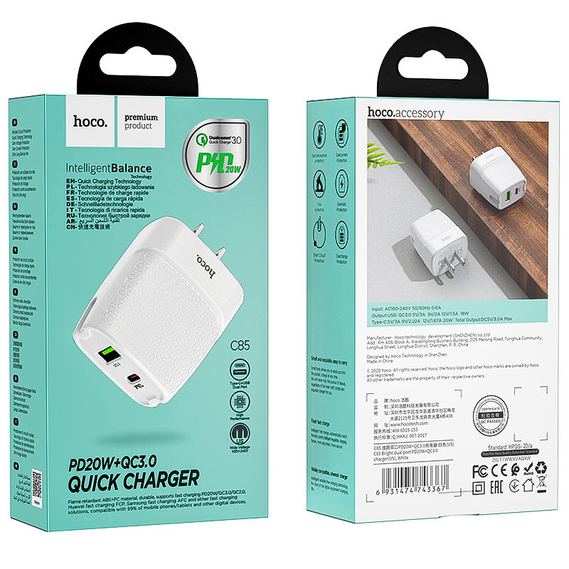 hoco c85 bright dual port pd20w qc3 wall charger us package
