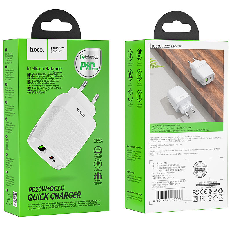 hoco c85a bright dual port pd20w qc3 wall charger eu package