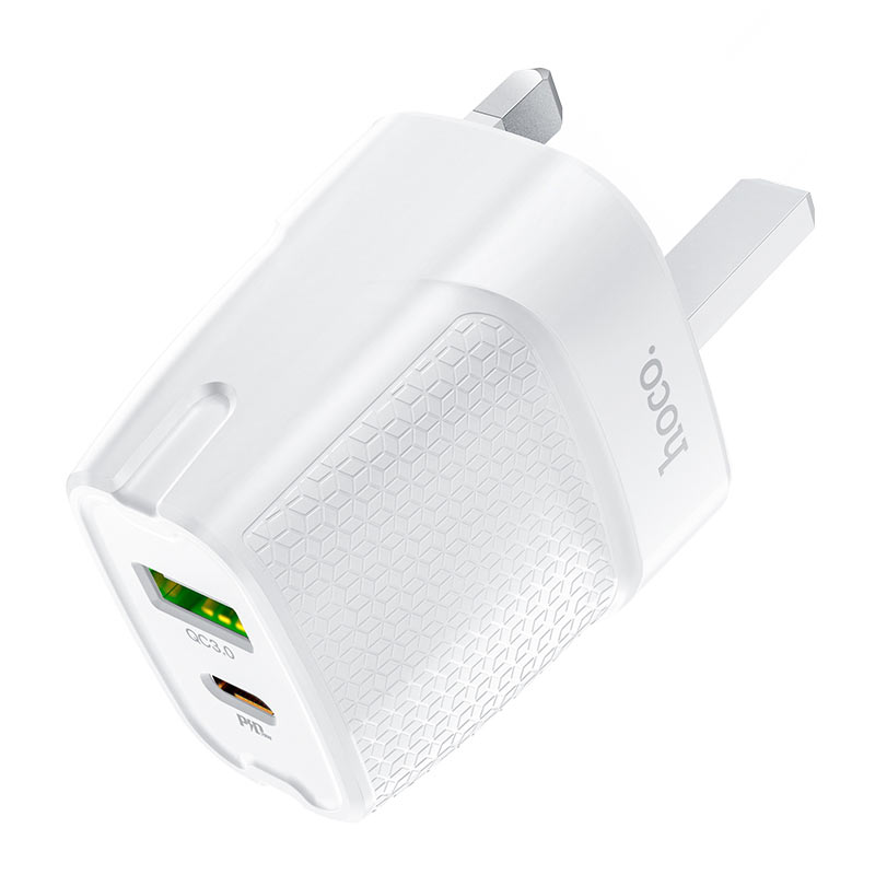 hoco c85b bright dual port pd20w qc3 wall charger uk housing
