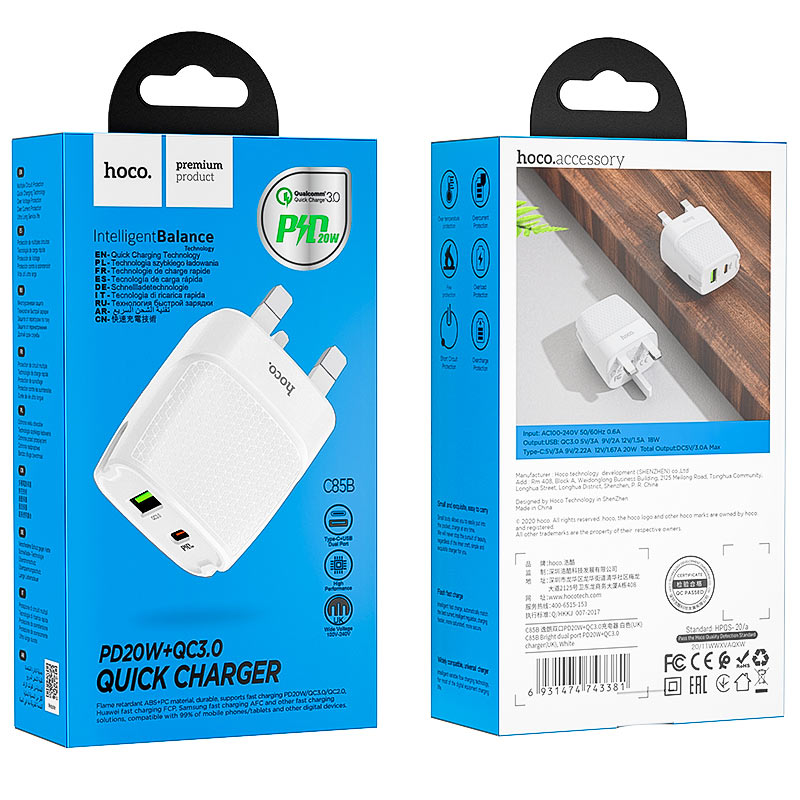 hoco c85b bright dual port pd20w qc3 wall charger uk package