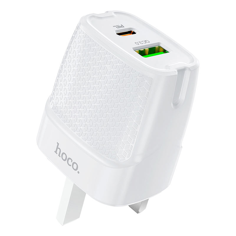 hoco c85b bright dual port pd20w qc3 wall charger uk ports