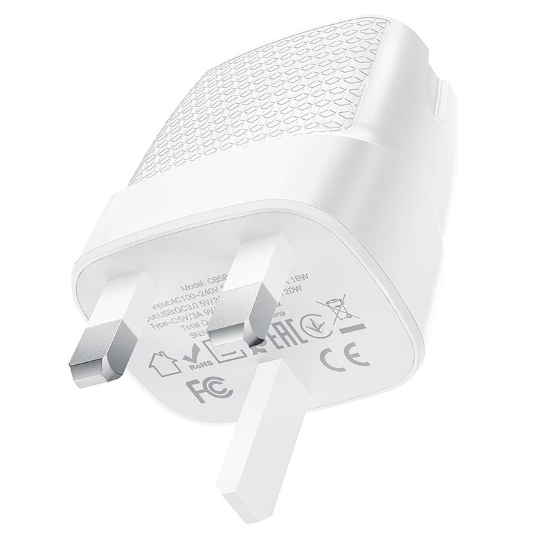 hoco c85b bright dual port pd20w qc3 wall charger uk specs