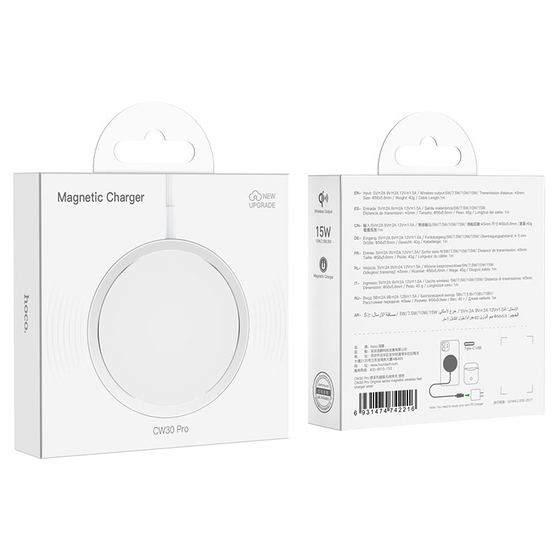 hoco cw30 pro original series magnetic wireless fast charger package