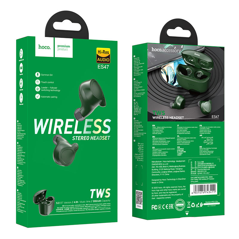 hoco es47 shelly tws wireless bt headset package army green