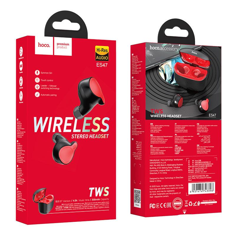 hoco es47 shelly tws wireless bt headset package black