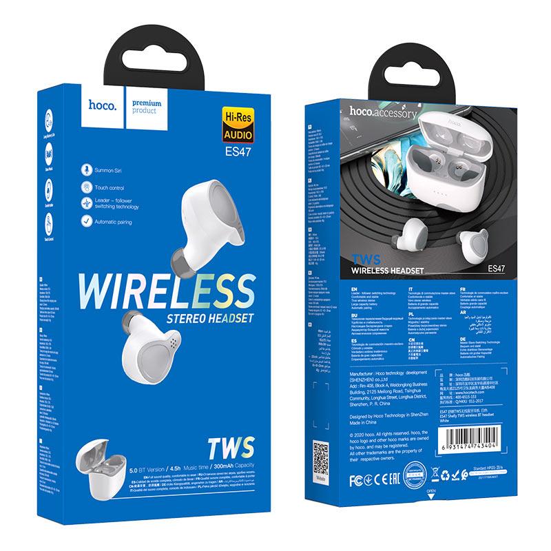 hoco es47 shelly tws wireless bt headset package white