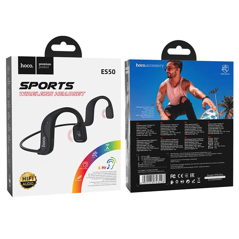 hoco es50 rima air conduction bt headset package black