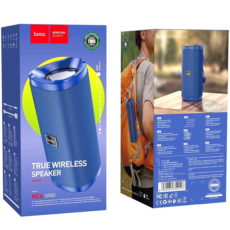 hoco hc4 bella sport bt speaker package blue