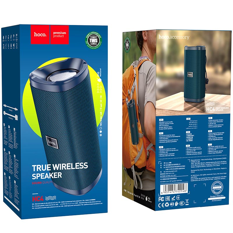 hoco hc4 bella sport bt speaker package dark blue