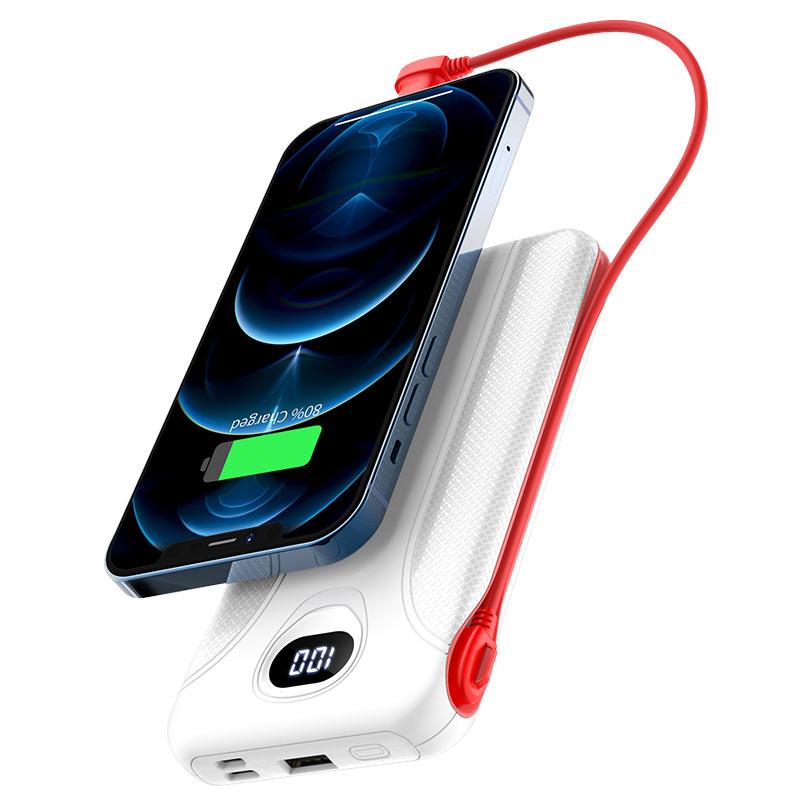 浩酷 j71 博瑞带线移动电源 10000mah 带lightning 充电线 充电