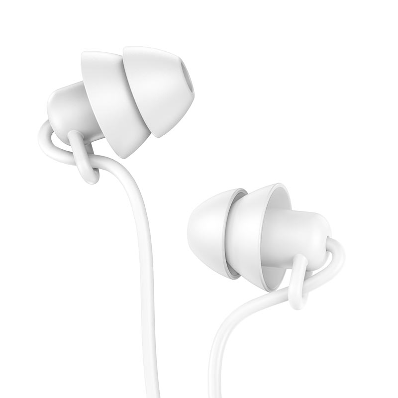 hoco m81 imperceptible universal sleeping earphone with mic ear caps white