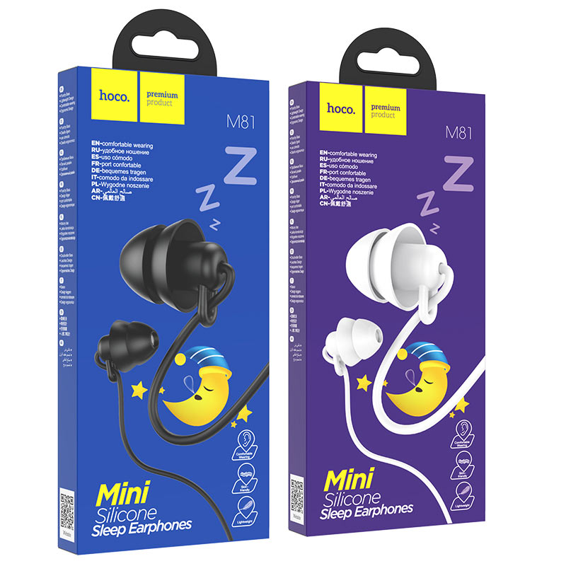 hoco m81 imperceptible universal sleeping earphone with mic packages