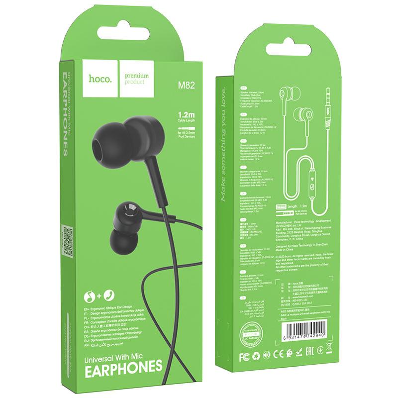 hoco m82 la musique universal earphones with mic package black