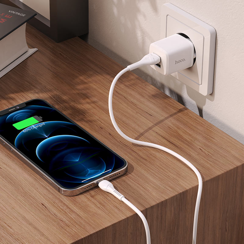 hoco n8 briar dual port wall charger eu for lightning set charging