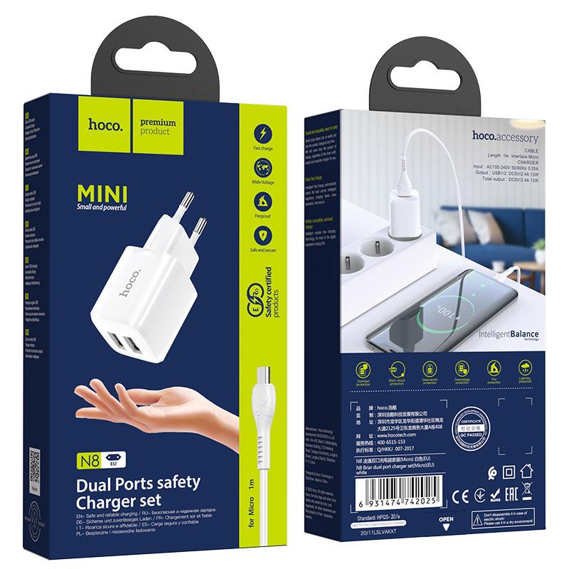hoco n8 briar зарядное устройство eu набор micro usb упаковка