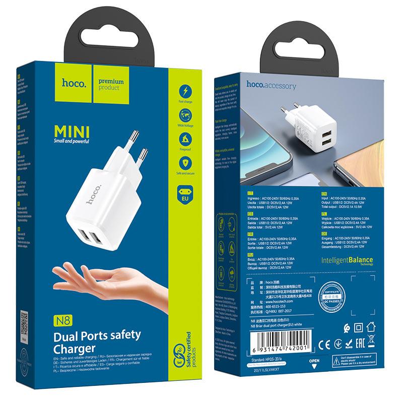hoco n8 briar dual port wall charger eu package