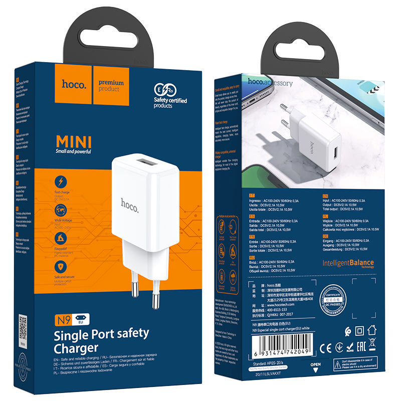 hoco n9 especial single port wall charger eu package