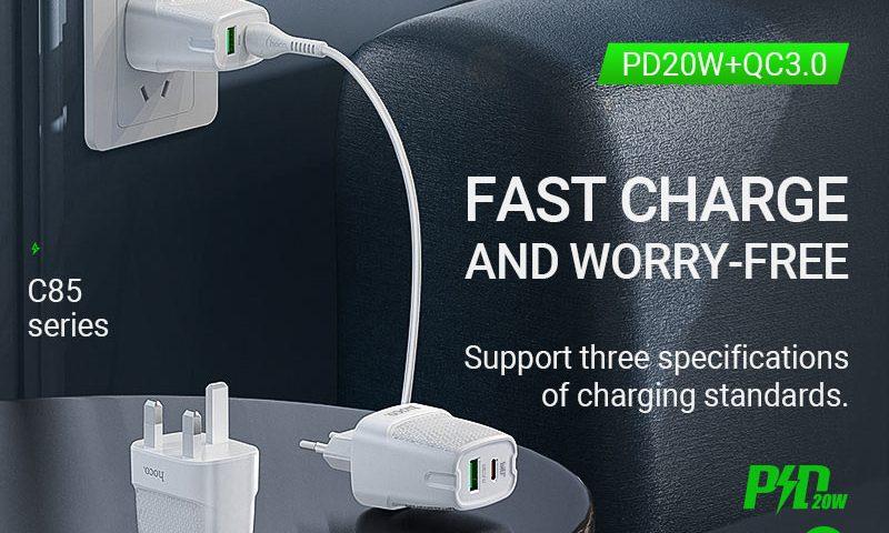 hoco news c85 bright dual port pd20w qc3 wall charger banner en