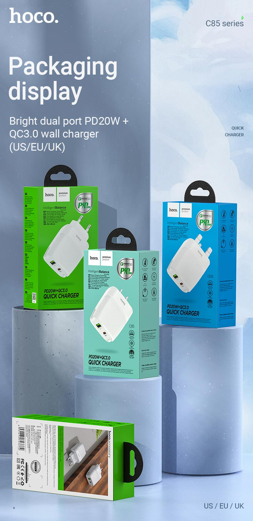 hoco news c85 bright dual port pd20w qc3 wall charger package en