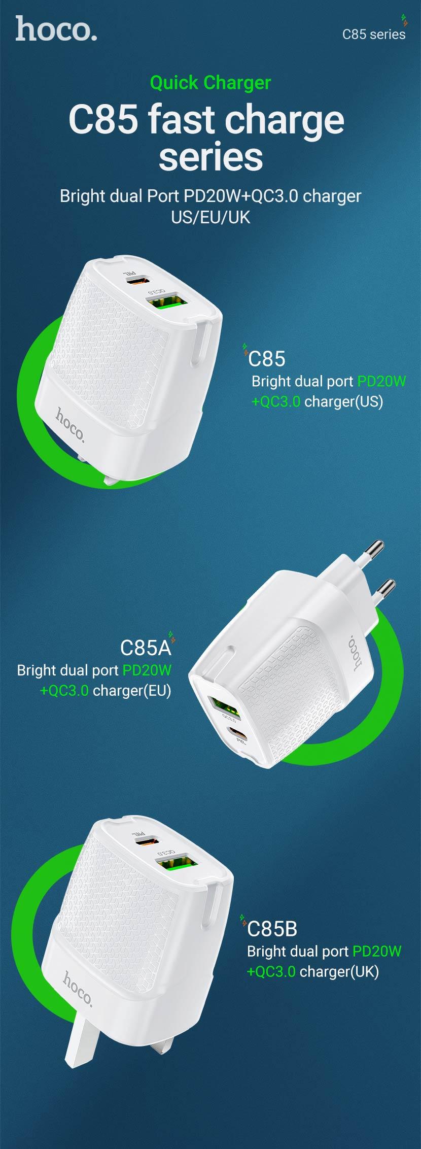 hoco news c85 bright dual port pd20w qc3 wall charger plugs en