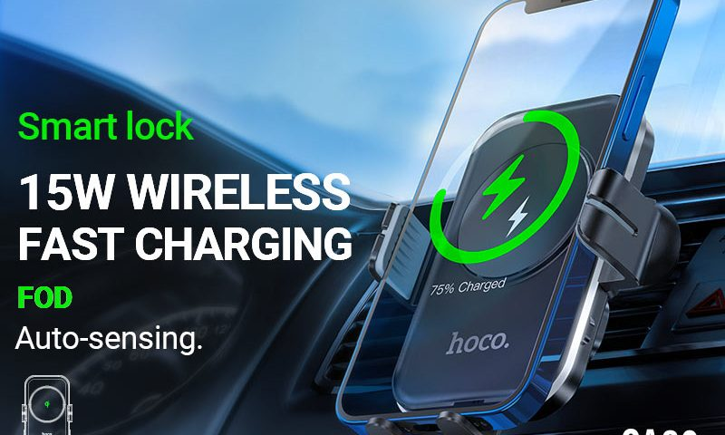 hoco news ca80 buddy smart wireless charging car holder banner en