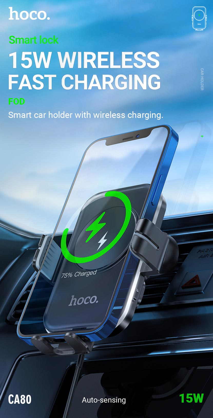 hoco news ca80 buddy smart wireless charging car holder en