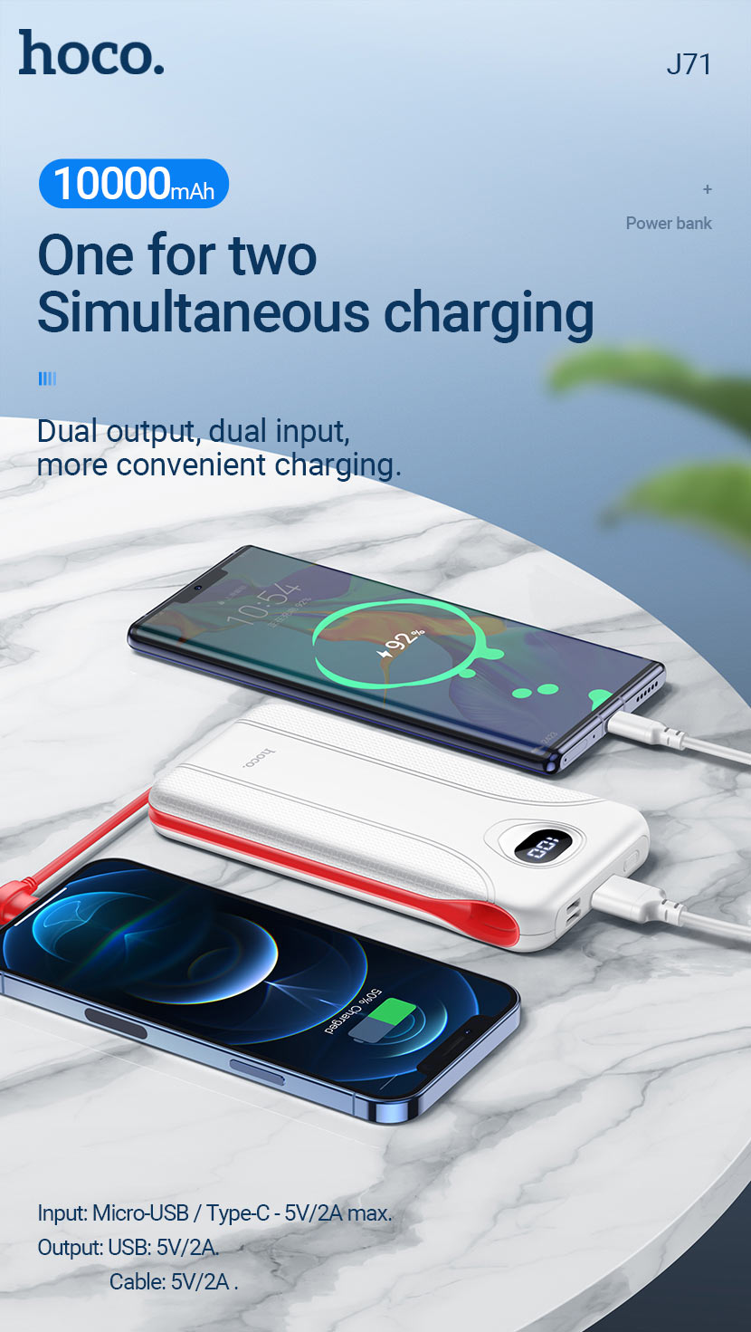 hoco news j71 borealis power bank 10000mah charging en