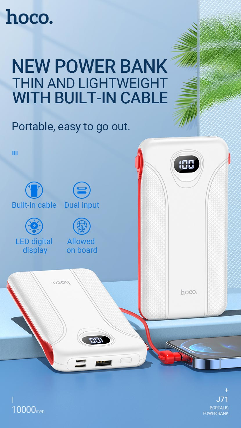 hoco news j71 borealis power bank 10000mah en