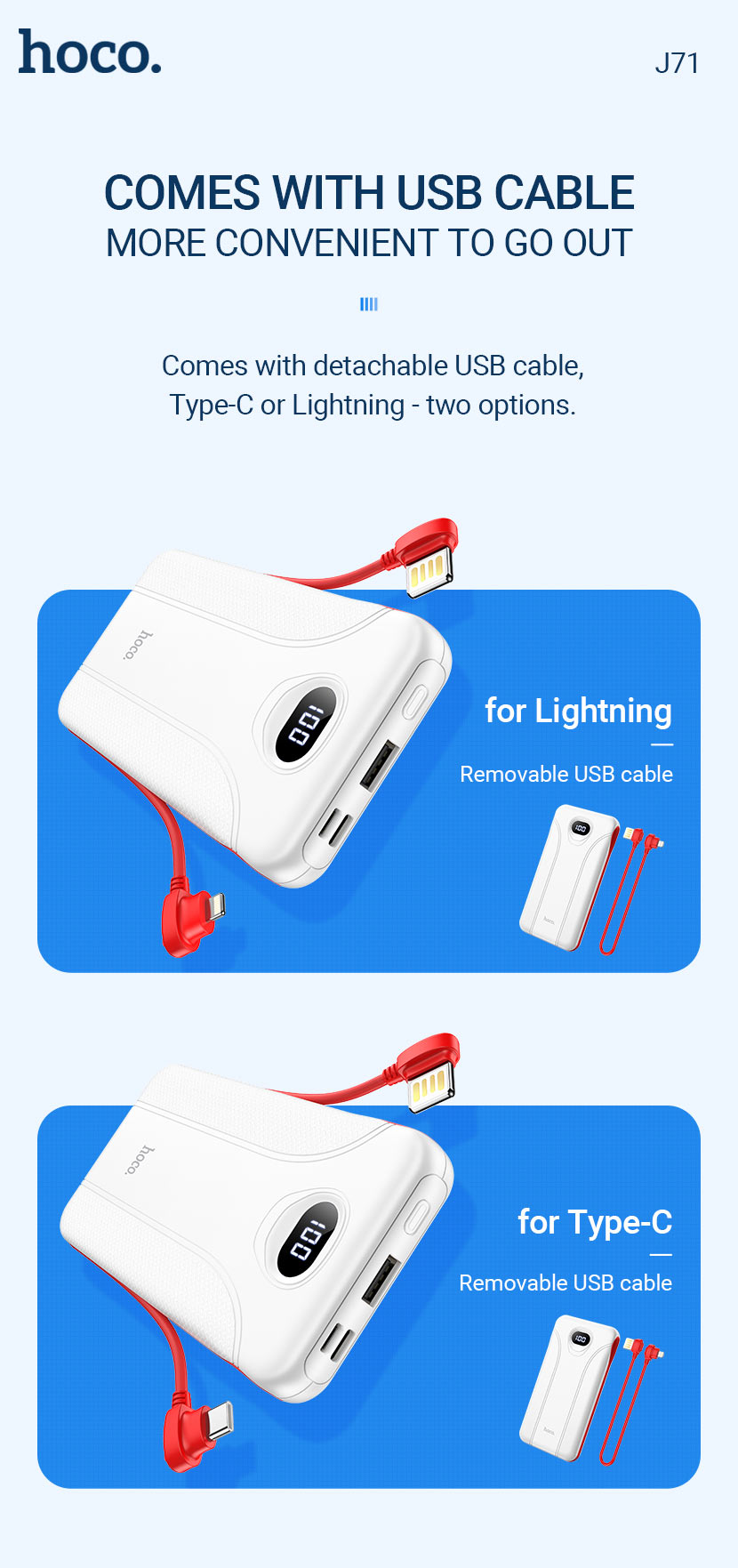hoco news j71 borealis power bank 10000mah with cable en