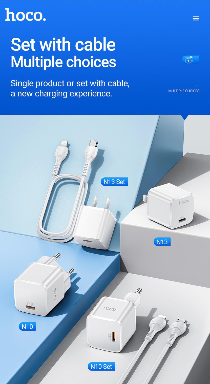hoco news n10 n13 starter single port pd20w wall charger set en