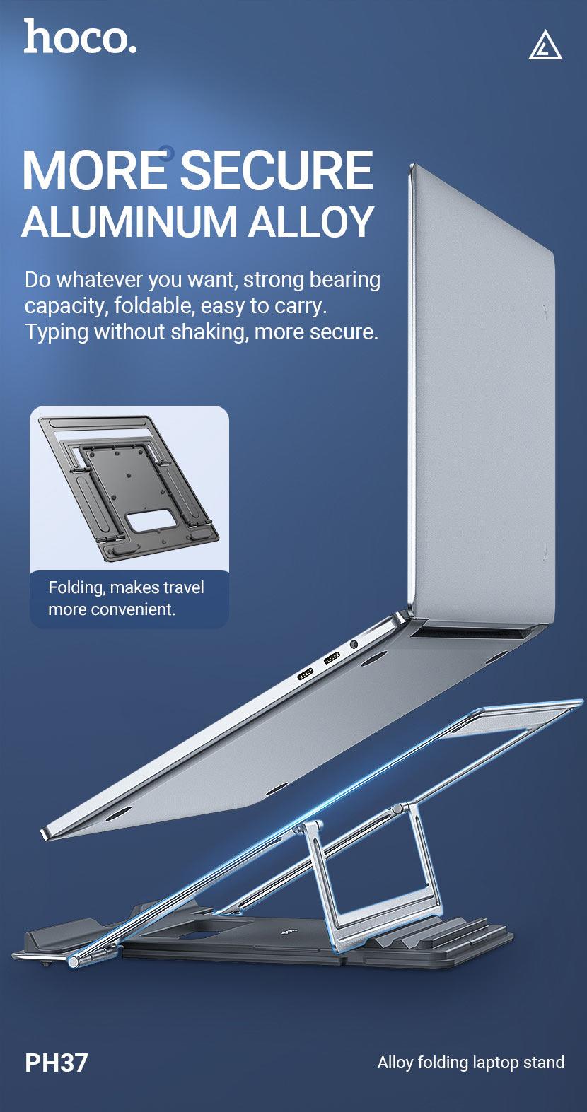 hoco news ph37 excellent aluminum alloy folding laptop stand secure en