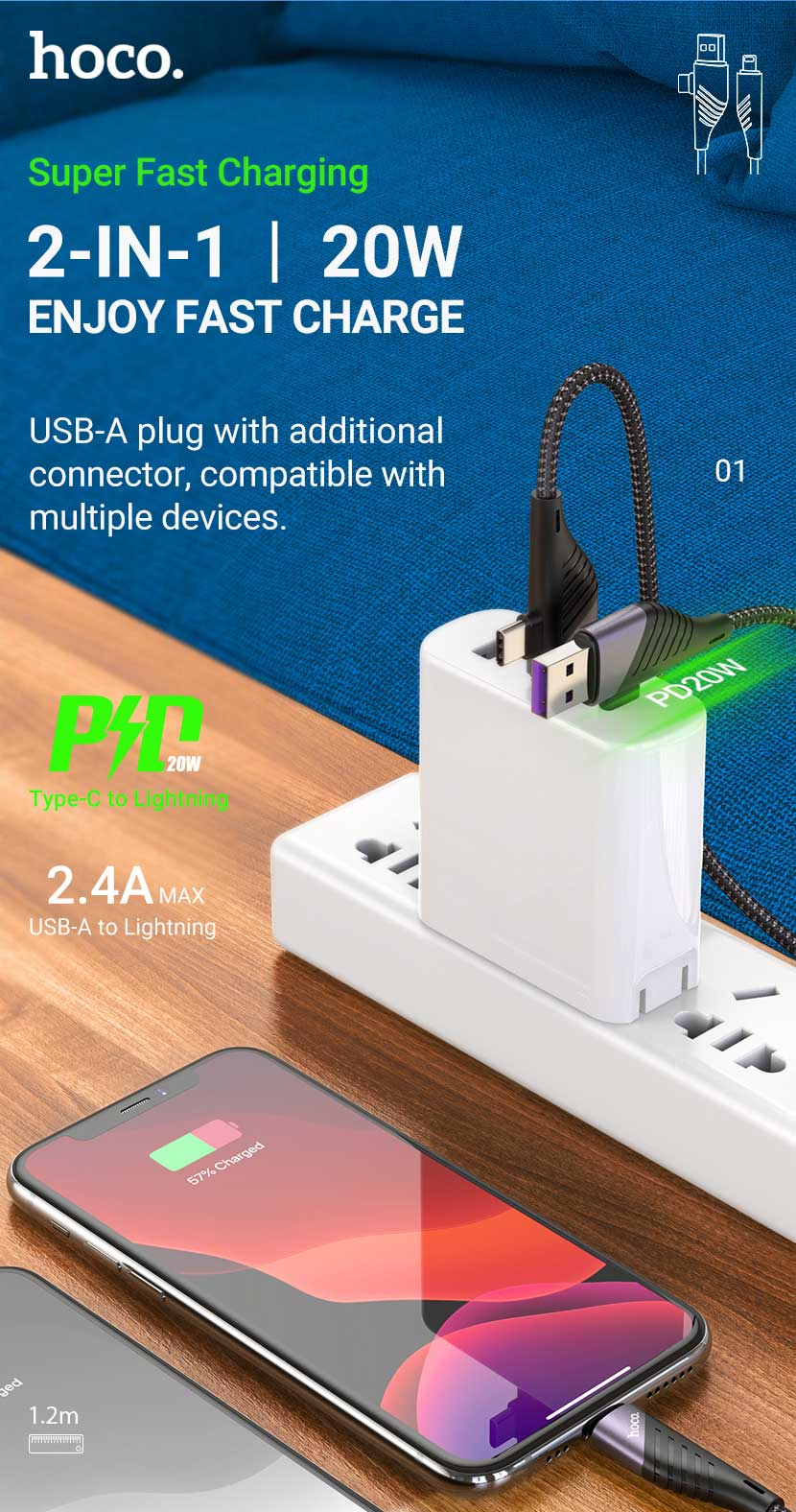 hoco news u95 freeway pd charging data cable 2in1 usb type c to lightning en